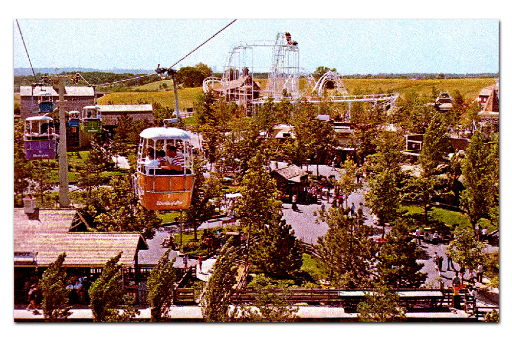Vintage postcard,  Sky-Hi (Ski Heis)  headed towards  Americana  (1973–1987).