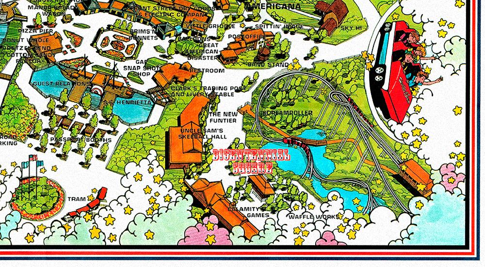 Worlds of Fun 1976 souvenir park map poster featuring  Bicentennial Square .