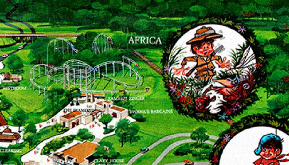 Africa  area, Worlds of Fun 1973 souvenir park map poster.