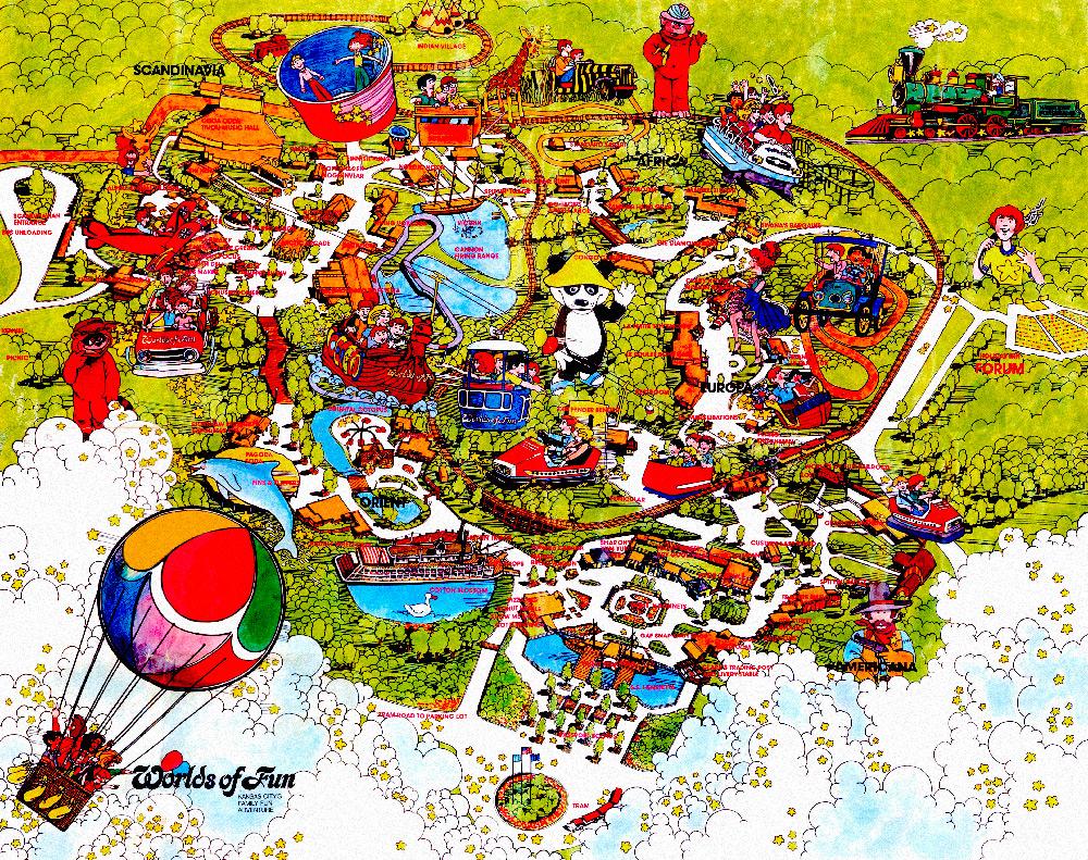 Worlds of Fun 1974 souvenir park map poster.
