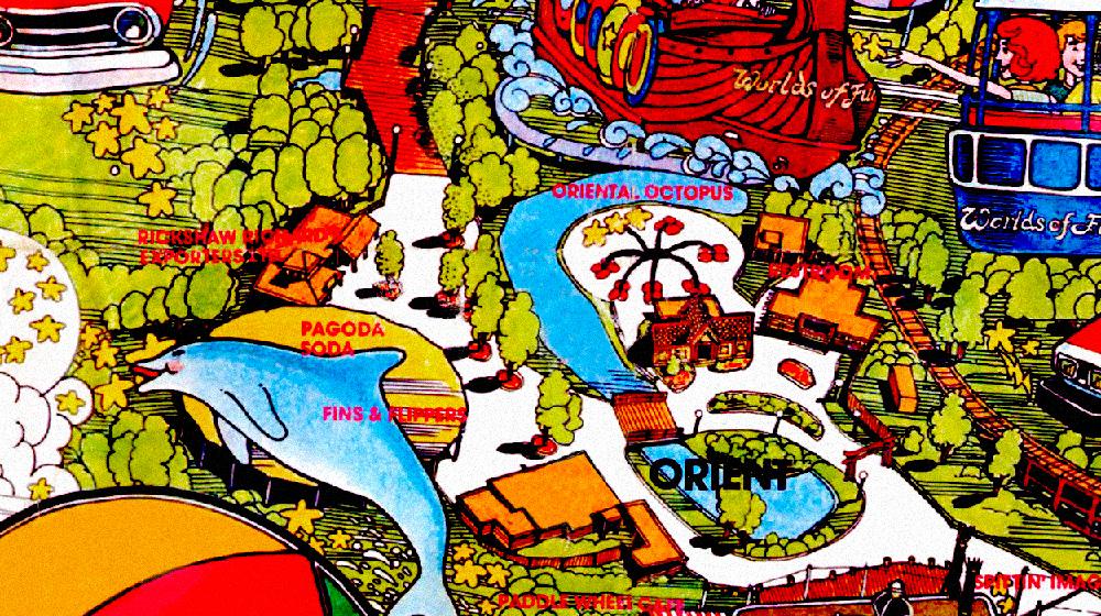 Orient  area, Worlds of Fun 1974 souvenir park map poster.