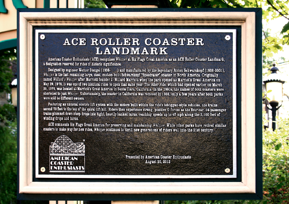 Honorary plaque for  Whizzer  at Six Flags Great America.