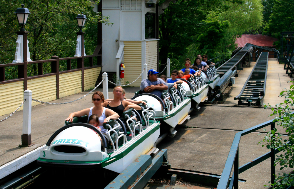 Single file seating on  Whizzer  at Six Flags Great America.