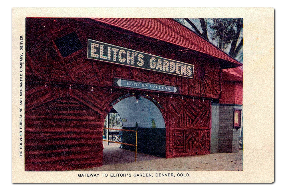 Vintage postcard, original entrance to Elitch's Gardens.