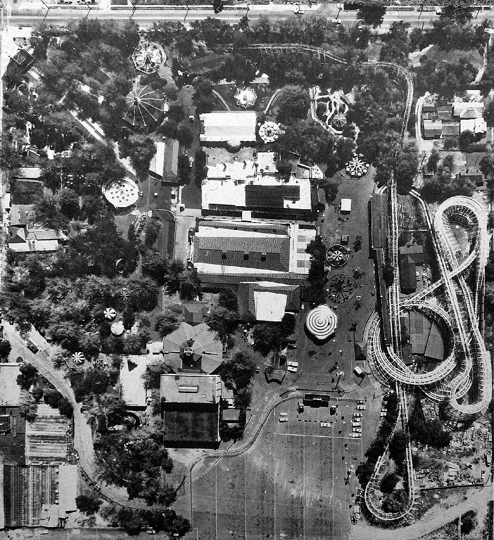 Aerial view of the original Elitch's Gardens location, circa mid-eighties.