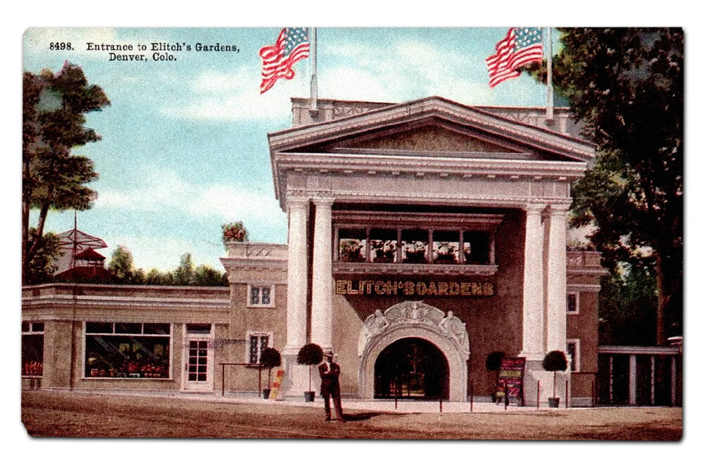 Vintage postcard, second entrance to Elitch's Gardens.