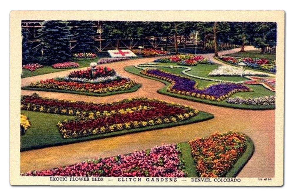 Vintage postcard, Elitch exotic flower beds.