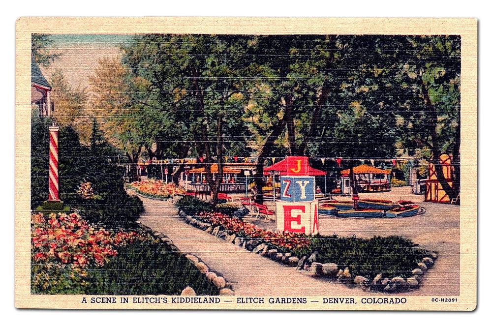Vintage postcard,  Kiddieland .