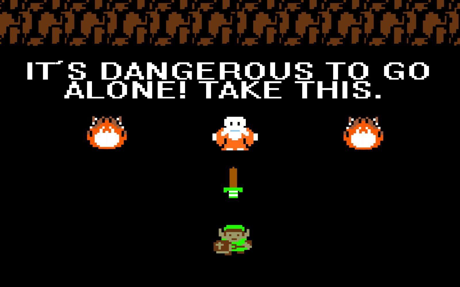 "Screenshot of Zelda: ""It's dangerous to go alone! Take this."""