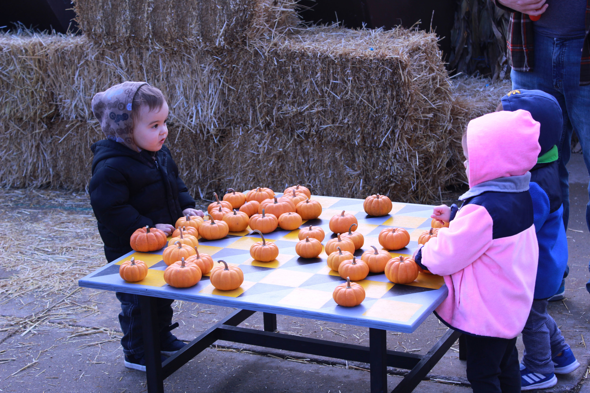 Checkers or chess? Two little tots from the Harvest days event playing outdoors on a mini pumpkin table.