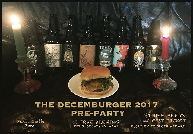 Dec 15th we'll be partying at @trvebrewing. Show your Decemburger ticket and get $1 off beers all night. DJ @sloth.wizard will be turnin the good stuff. Fest tickets available at the TRVE taproom or link in bio. . . #bongripper #dustpresents #trvebrewing #thedecemburger #denverbeer #denvermusic #denvermetal