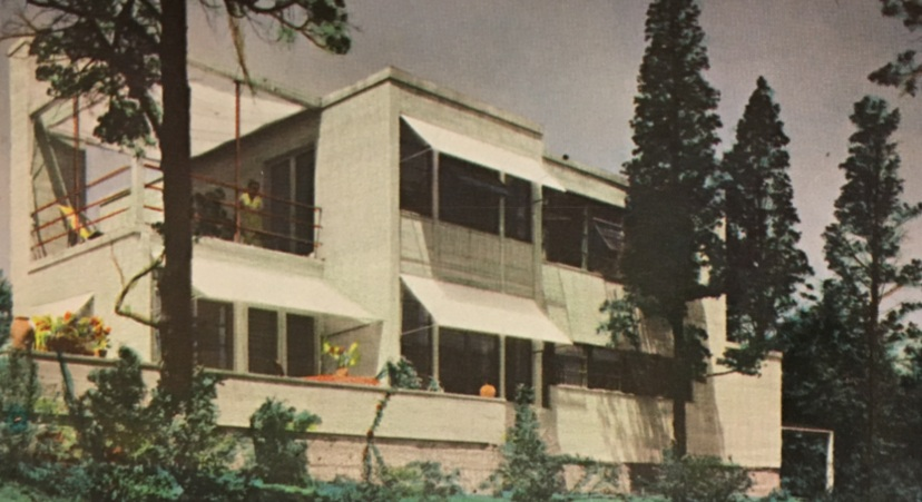 Fig. 1: Eleanor Raymond. Rachel Raymond House, Rear Elevation, Belmont, Massachusetts, 1931. Demolished 2006. Photo tinting by Doris Cole circa 1980. Eleanor Raymond, Architect by Doris Cole.