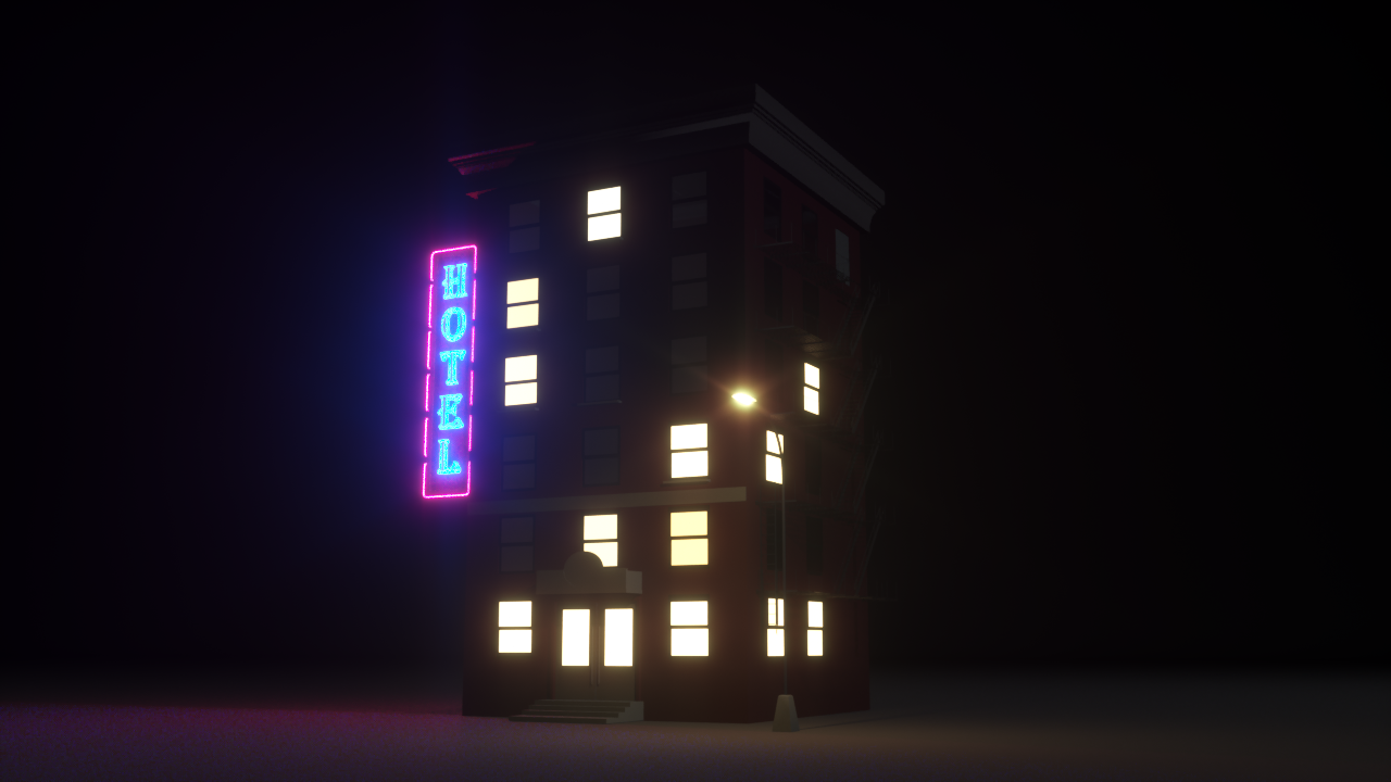 A building modeled in Cinema 4D, rendered in Octane render.