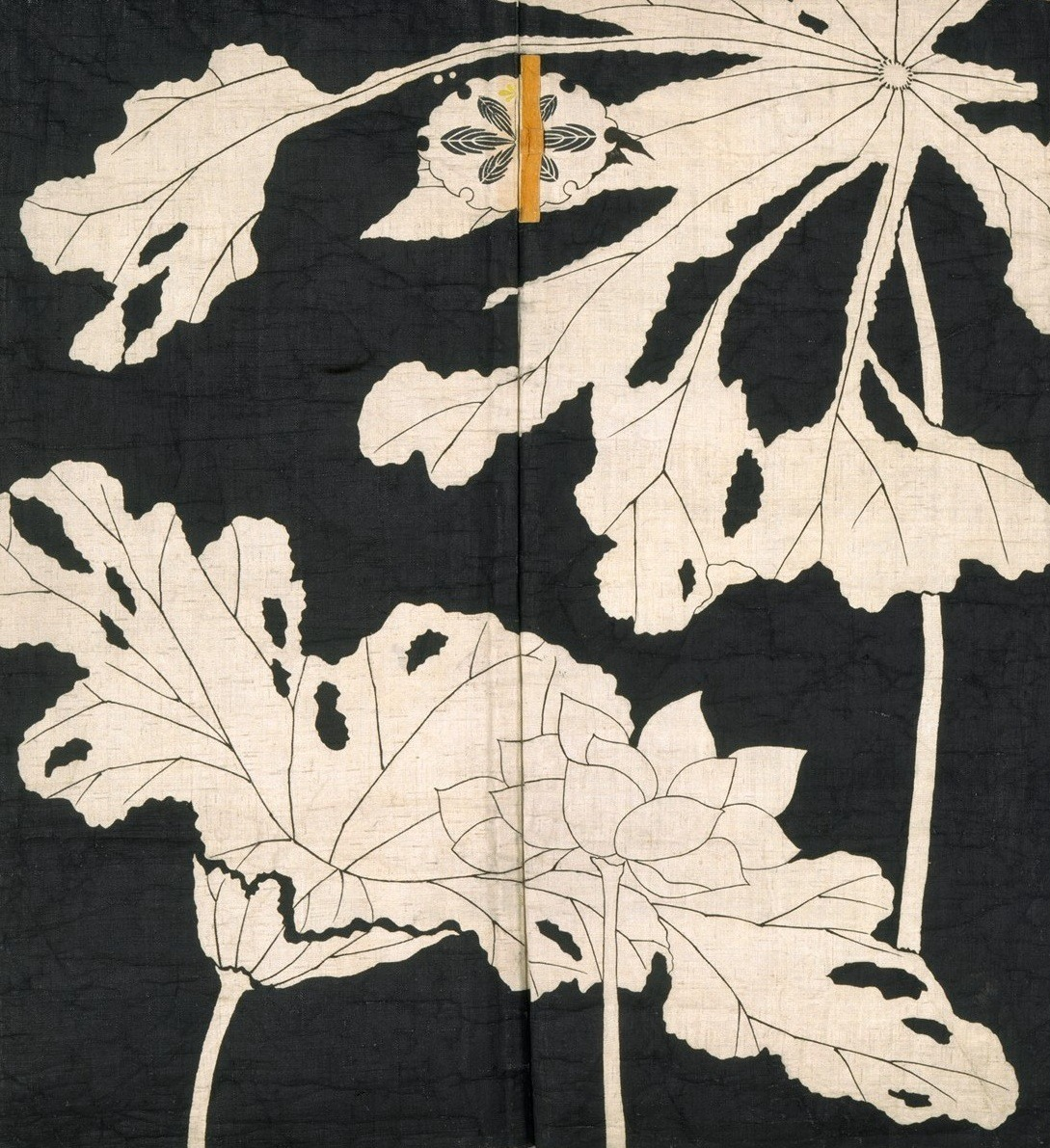 arsvitaest :      Jacket     with design of lotuses [detail]        Origin:        Japanese      Date:      Early 19th century    Medium:  Resist-dyed and painted plain-weave bast fiber  Location:  The Metropolitan Museum of Art, New York