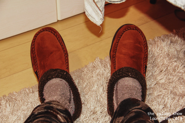 Time to studio - warm feet are essential