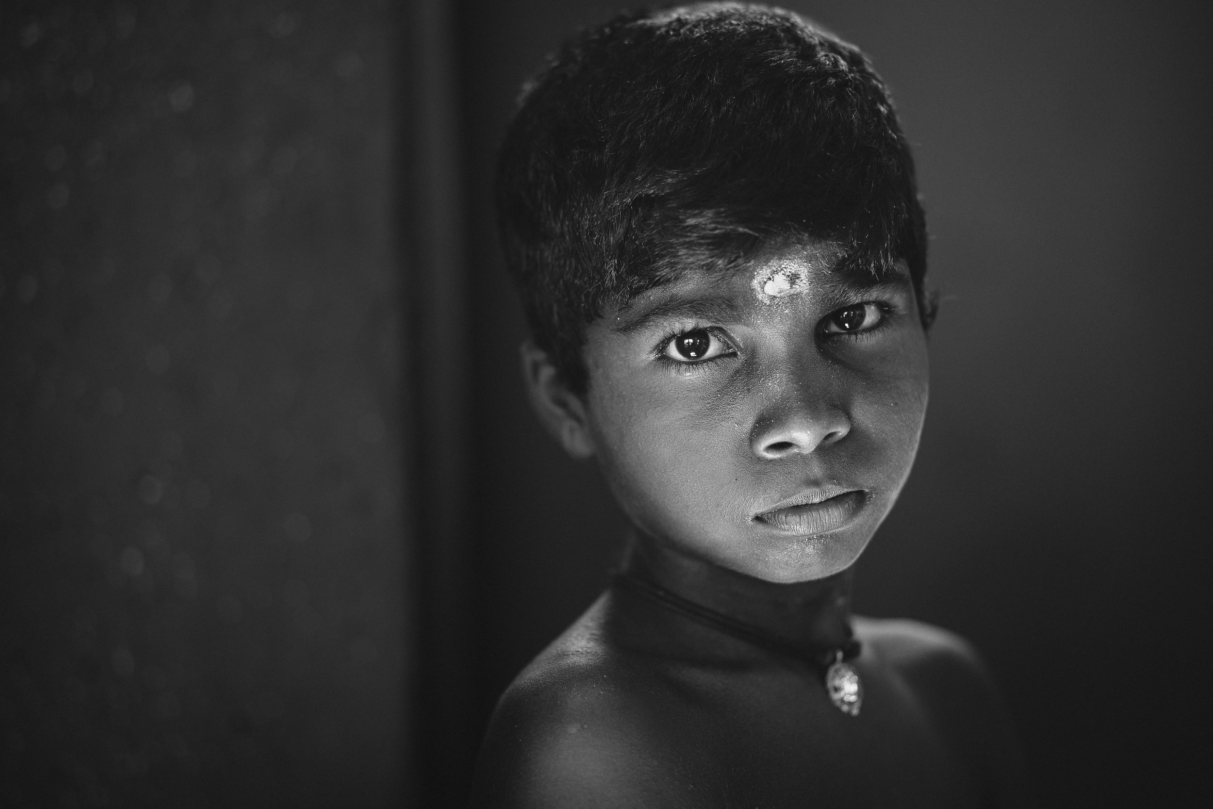 Black and white portrait of a young boy in Jaffna - Sri Lanka