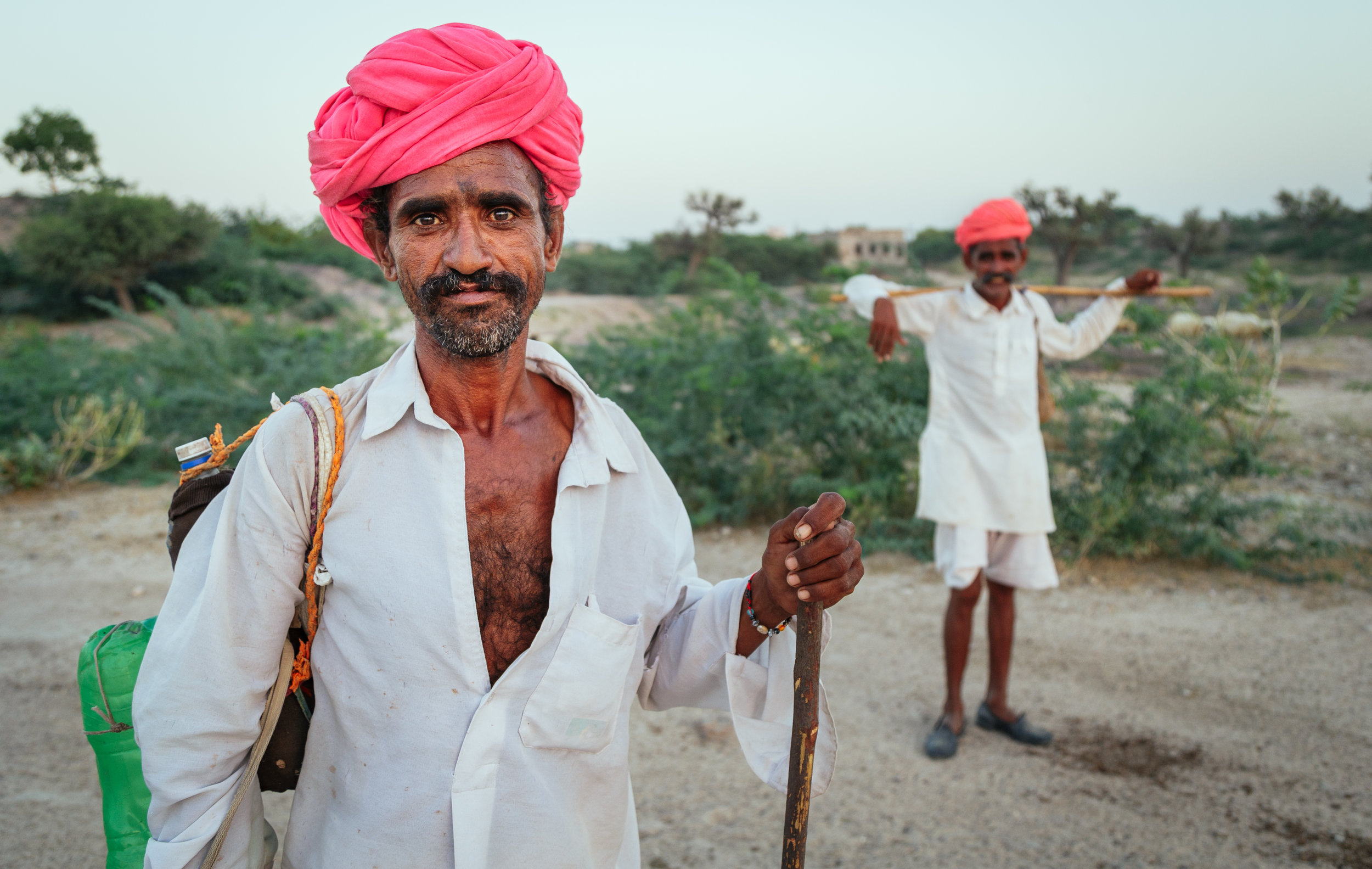 Cattle herders with traditional Rajasthani turbans in a village