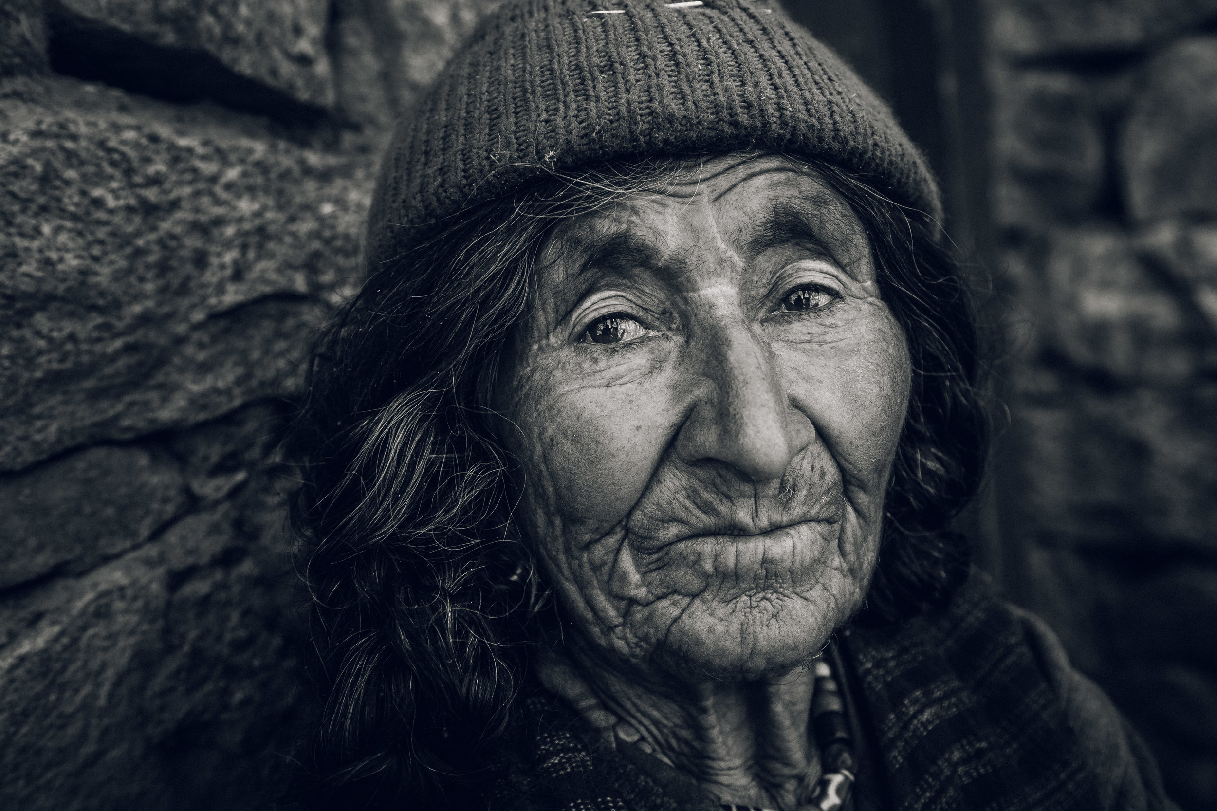 An old woman in a aryan village in Himalaya ranges in Ladakh - I