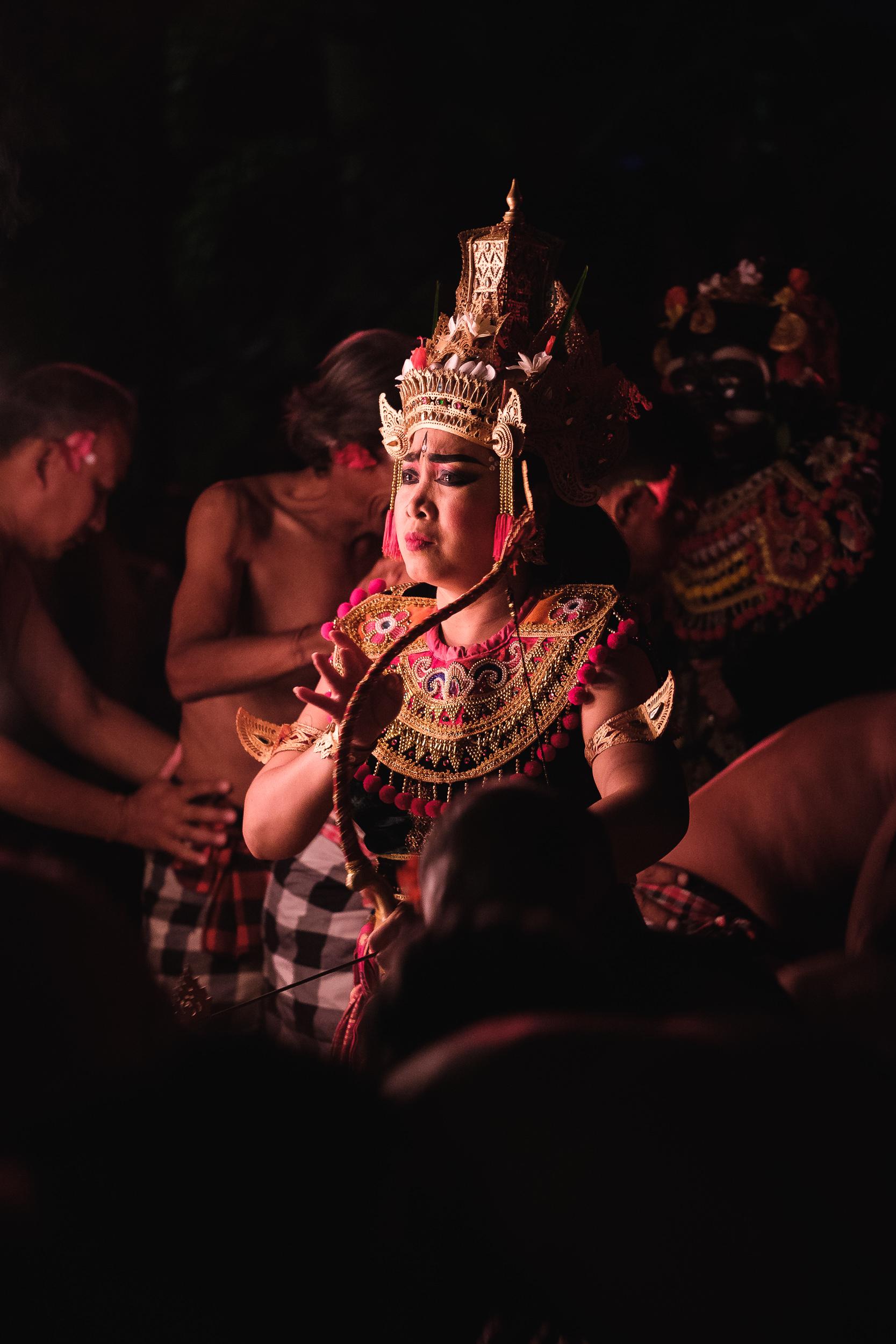 Female Kecak dance performer in Ubud, Bali- Indonesia.  Fujifilm X-E3 + Fujinon XF 80mm f/2.8 R LM WR OIS Macro  1/50sec, f/2.8, ISO 4000