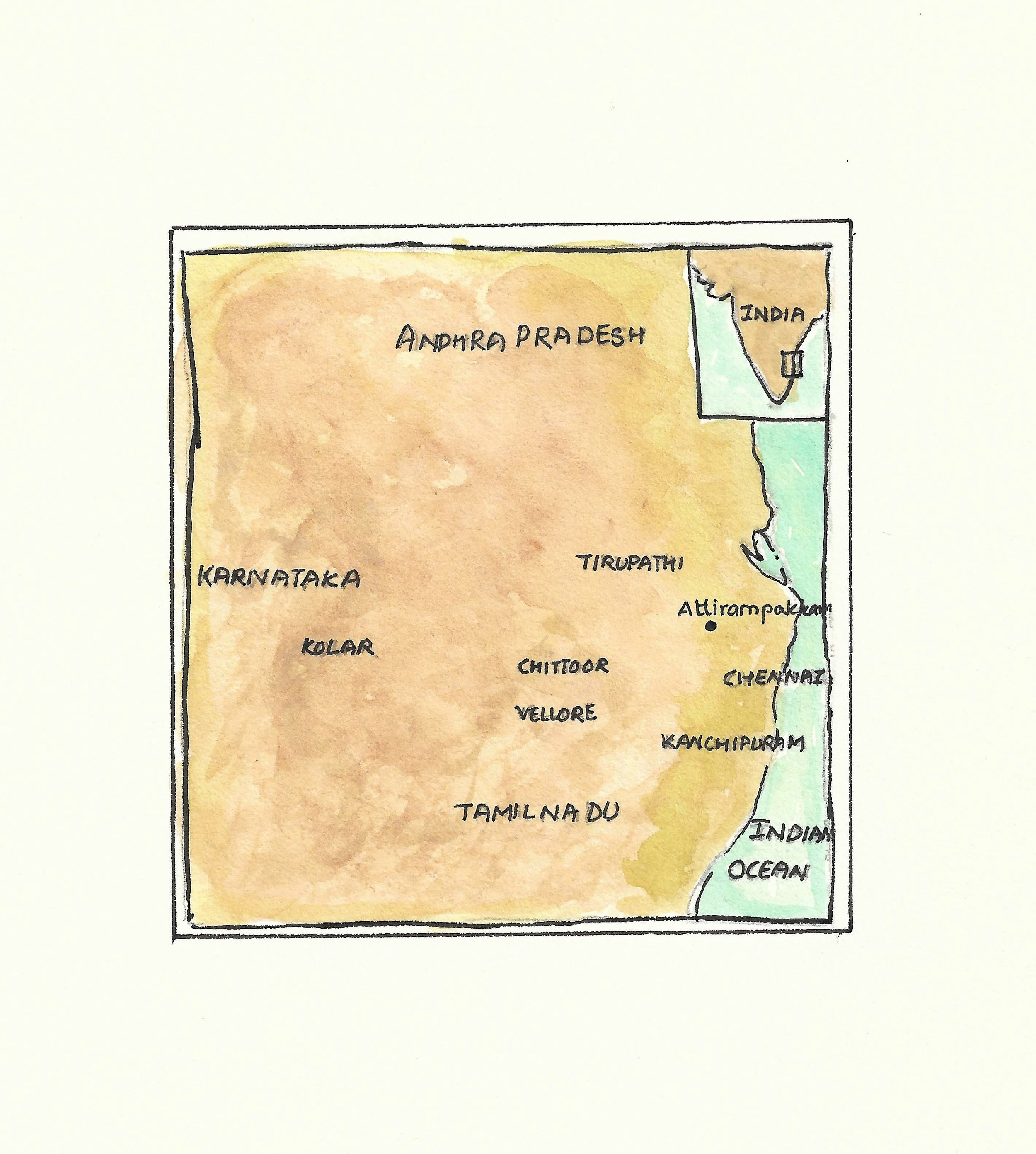 A map of Attirampakkam, an archaeological site close to the south Indian city of Chennai that has been studied for more than a century.
