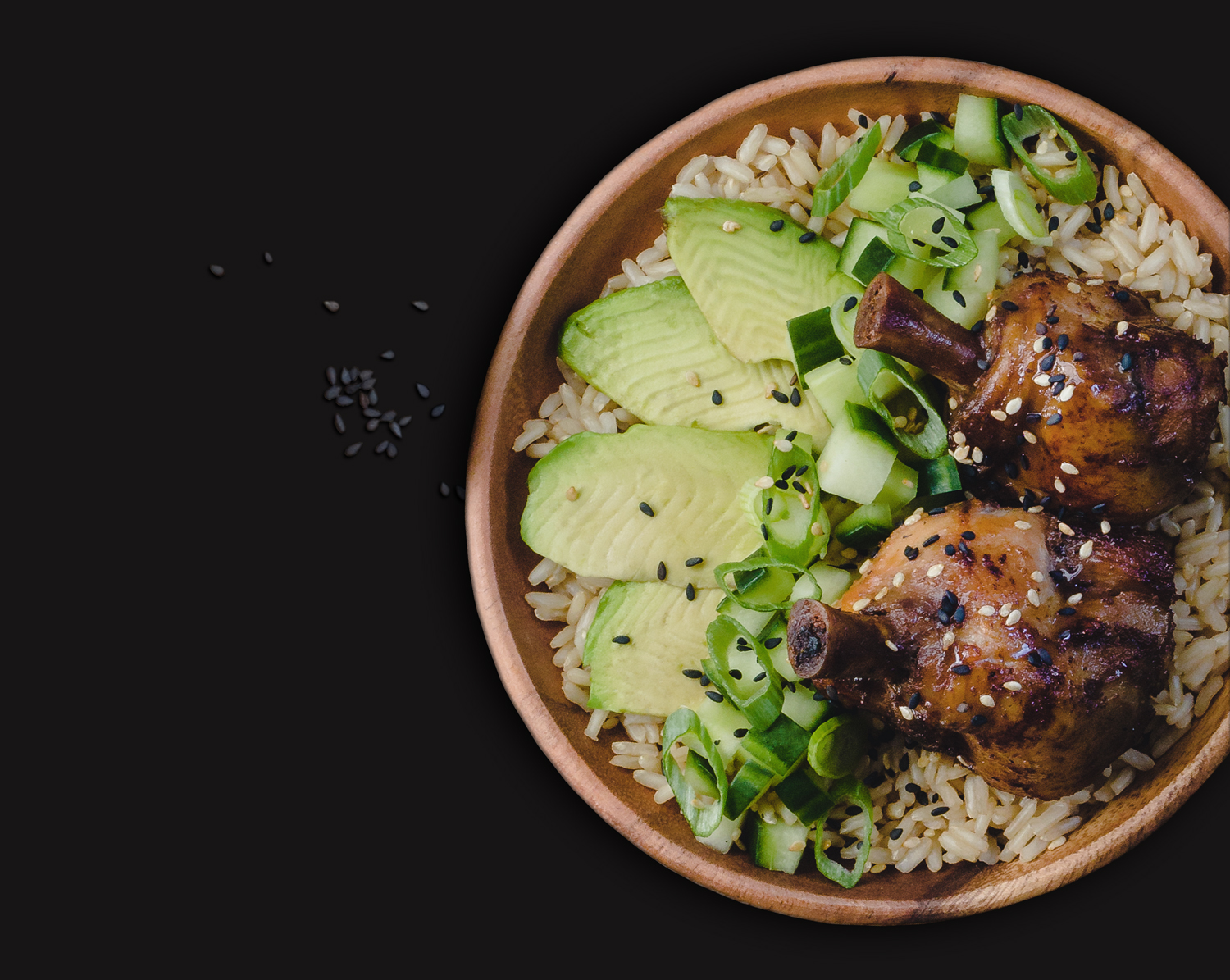 EZ WINGS Teriyaki Drum Lollie, Cucumber, and Avocado Bowl