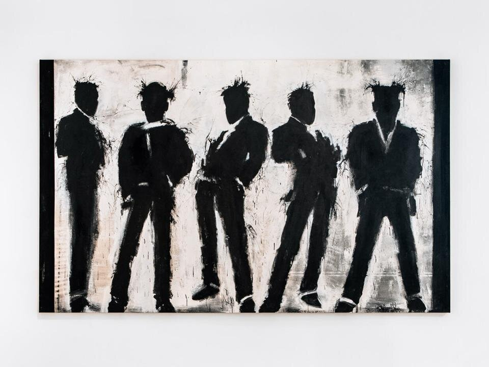 "Richard Hambleton ""Five Shadow Figures"" (2003) Acrylic on canvas 77 1/2 in. x 125 in"