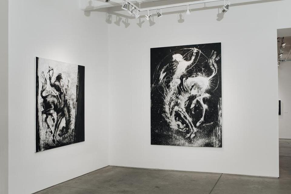 """Richard Hambleton: SHADOWMAN"" Installation view featuring two works from the ""Horse & Rider"" series"
