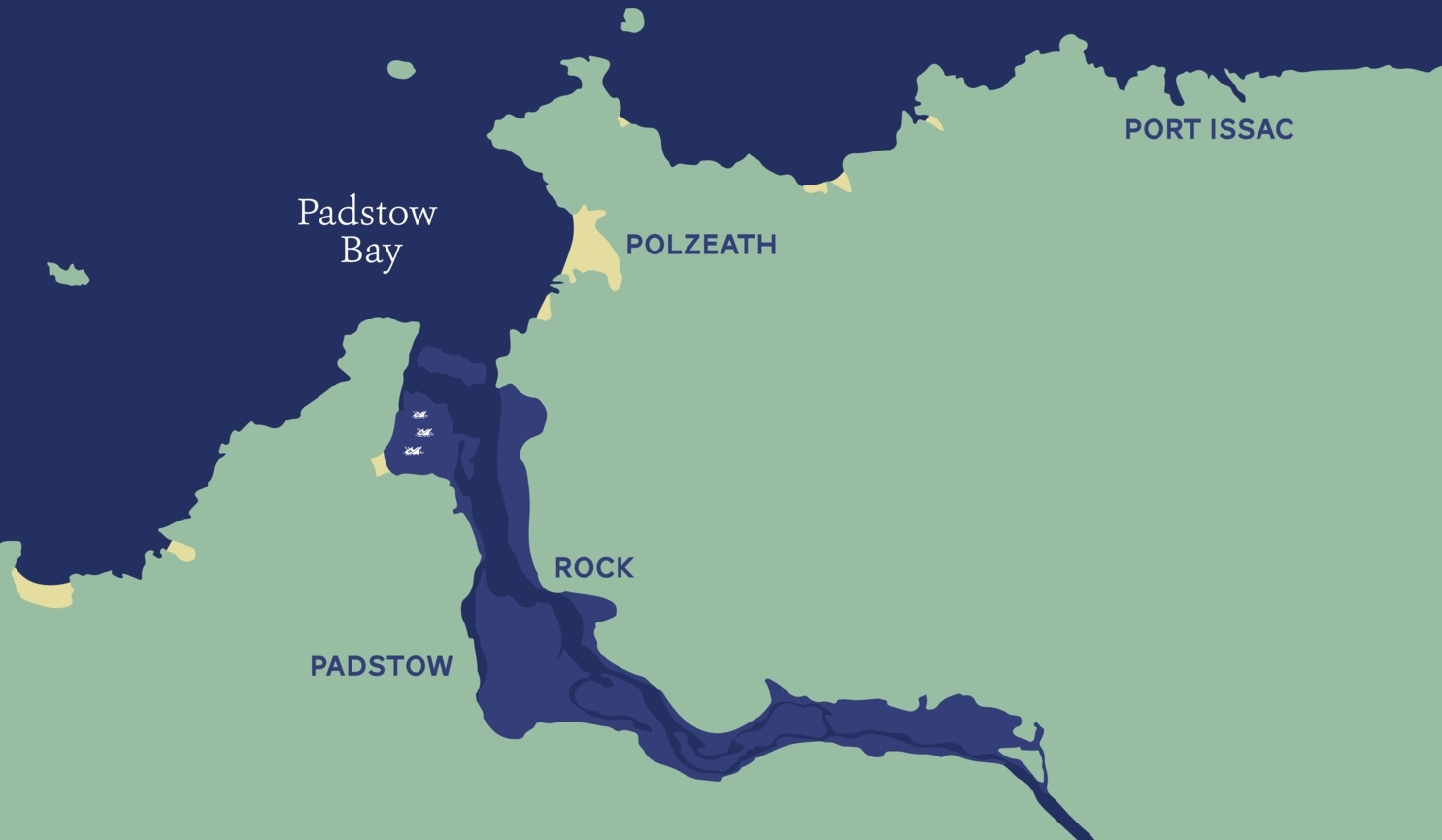 Map of Camel Estuary, Padstow, North Cornwall.