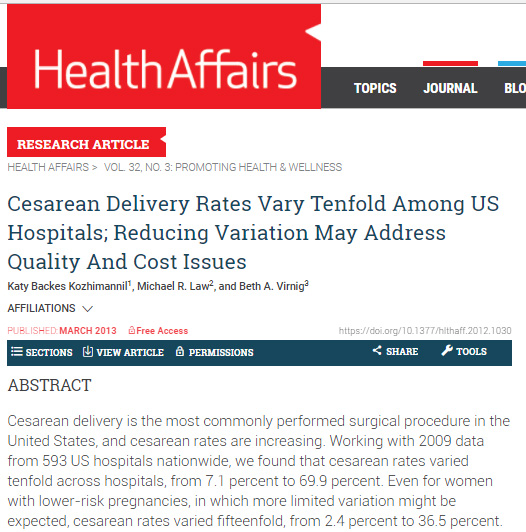 Health Affairs - CesareanRates.com cited as a source of information on C-sections for consumers.March 2013.