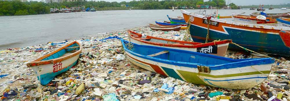 - Plastic pollution in Mumbai, India.
