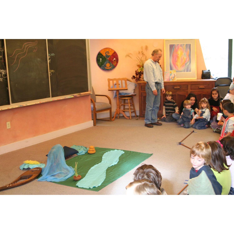 In the Teacher Ed room at Rudolf Steiner College