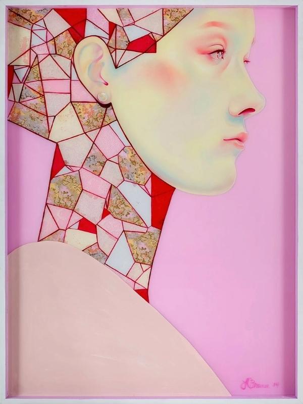 Amaranth  / 2014 / 4' x 3' (91 x 122 cm) / Oil, Acrylic, Mixed Media and Resin on Wood Panel /  ©LaurenBrevner