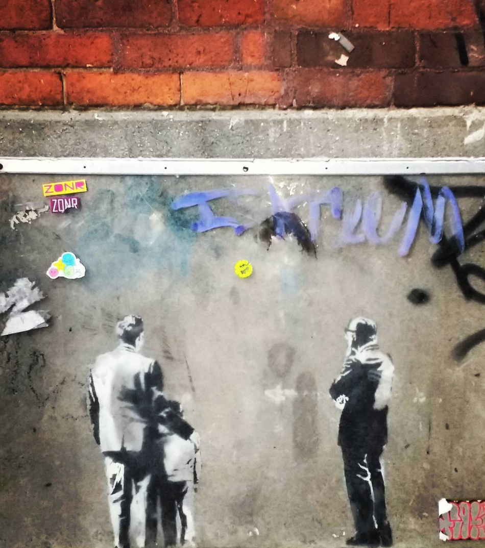 Banksy // Last Banksy visible in Toronto, the name Bansky was what the character were originally looking at.