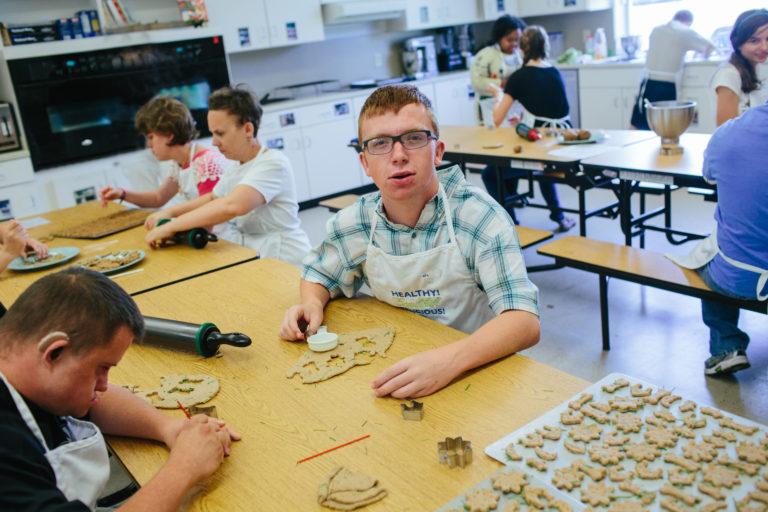Students at NFSSE hard at work baking Barkin' Biscuits.