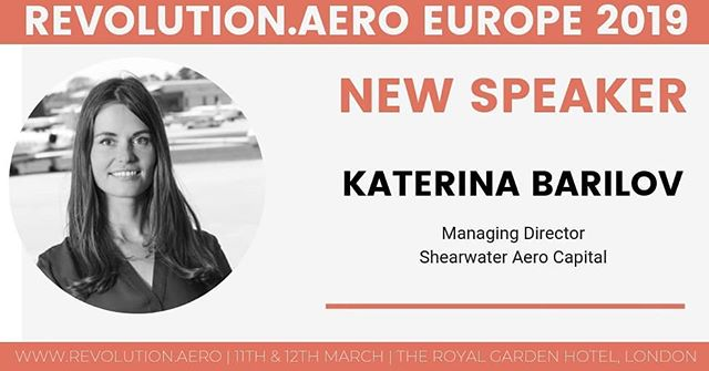 We are delighted to announce Katerina Barilov, Managing Director of Shearwater Aero Capital as our speaker at Revolution.AERO next week in London.  She will be tackling the topic: Identifying early stage opportunities.  #revolutionaero #urbanairmobility #flyingtaxi #futureofmobility