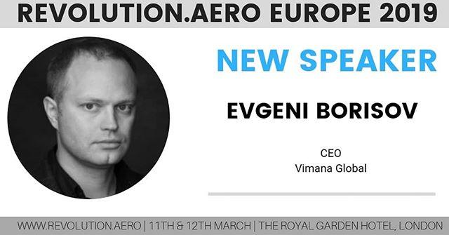 "Looking forward to welcoming Evgeni Borisov, CEO, Vimana, who will discuss ""Rethinking urban mobility"" at Revolution.AERO next week in London.  #revolutionaero #urbanairmobility #flyingtaxi #futureofmobility"