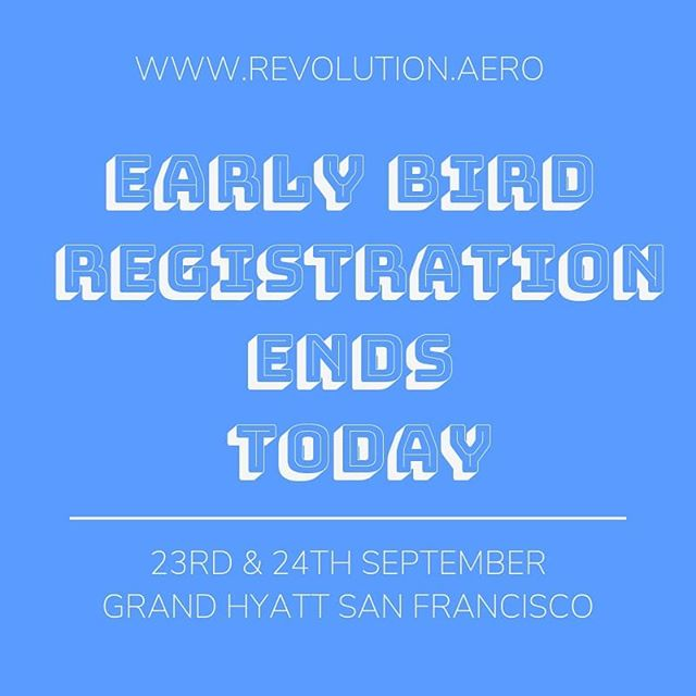 Just a heads up! Today is the last day you can save $200 on your toRevolution.AeroUSA2019booking. You have just under 24 hours (until midnight 16 August) left to book a front row seat to the fourth aviation revolution using theEarly Bird Discount. Link in bio.  #futureofflight #electricaircraft #conferenceroom #revolutionaero #superearlybird #SanFrancisco #booknow