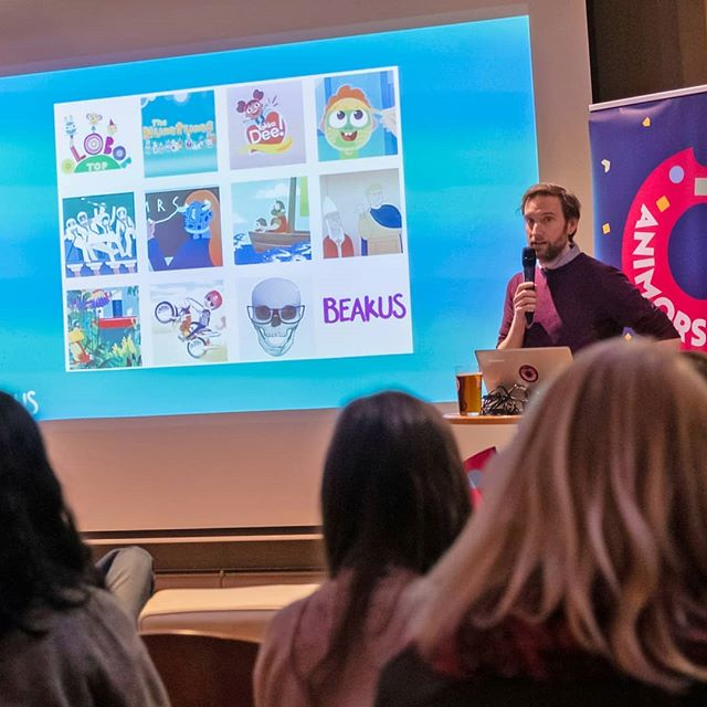 Here's our founder Steve Smith speaking @animorsels all about @olobobtop.  Great event, with a screening of cutting edge shorts by Run Wrake and Eoin Duffy amongst others. Thanks for inviting us @bottletopdesign!  #animationtalk #animationdesign #animationlife #CBeebies #kidstv #preschoolproduction #preschoolproducer #tvproducer #animationproduction