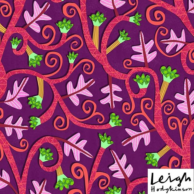 """@beakus has a better half called @hoonbutton. You should check her stuff! However she also has an #InstaAlterEgo, called @hoonerillo, and she's posting up some damn fine surface patterns. You should check those out too, whilst you're at it.. """"Twirly berries""""  #surfacepattern #repeatpattern #surfacedesign"""