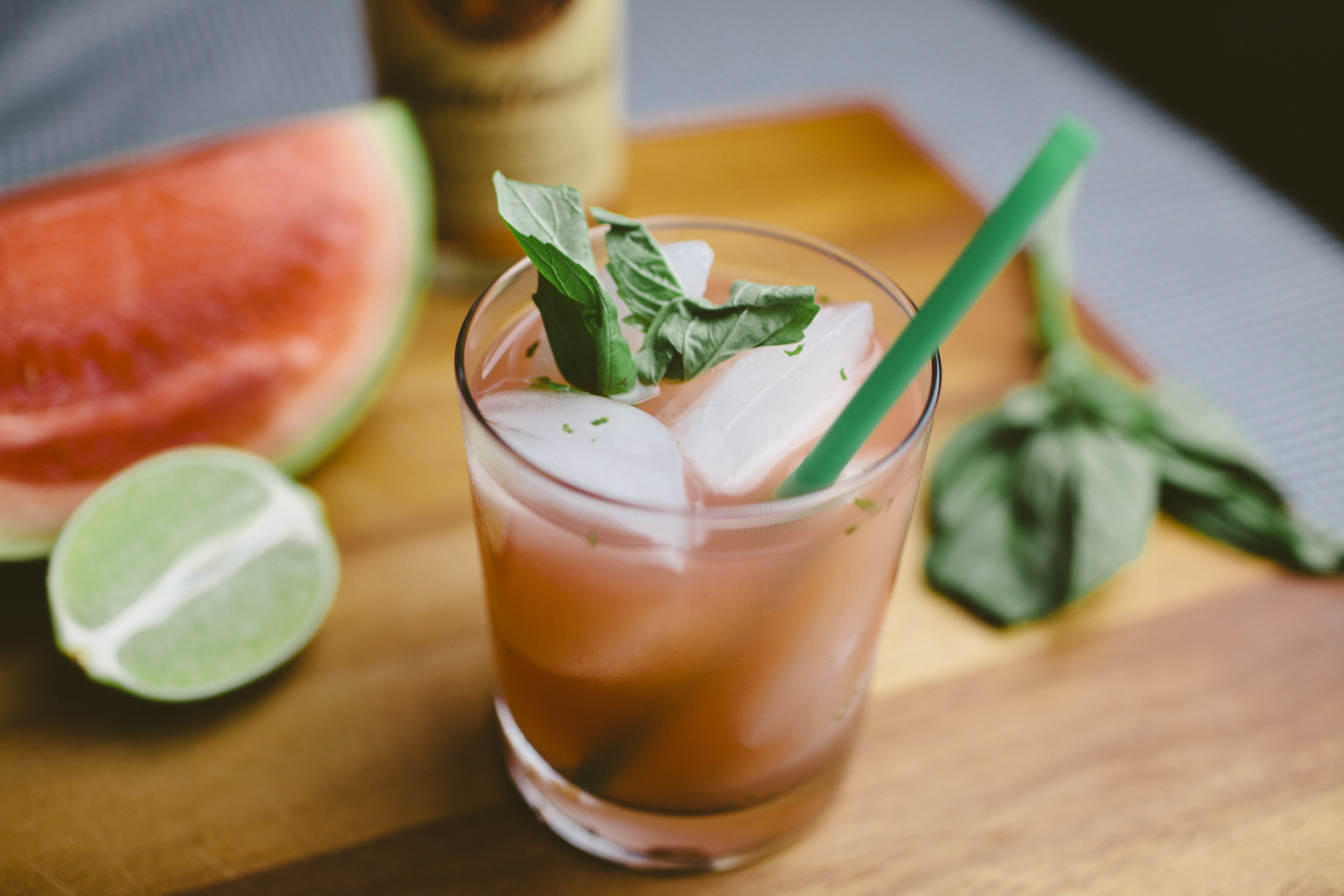 Watermelon Basil Lime Cocktail