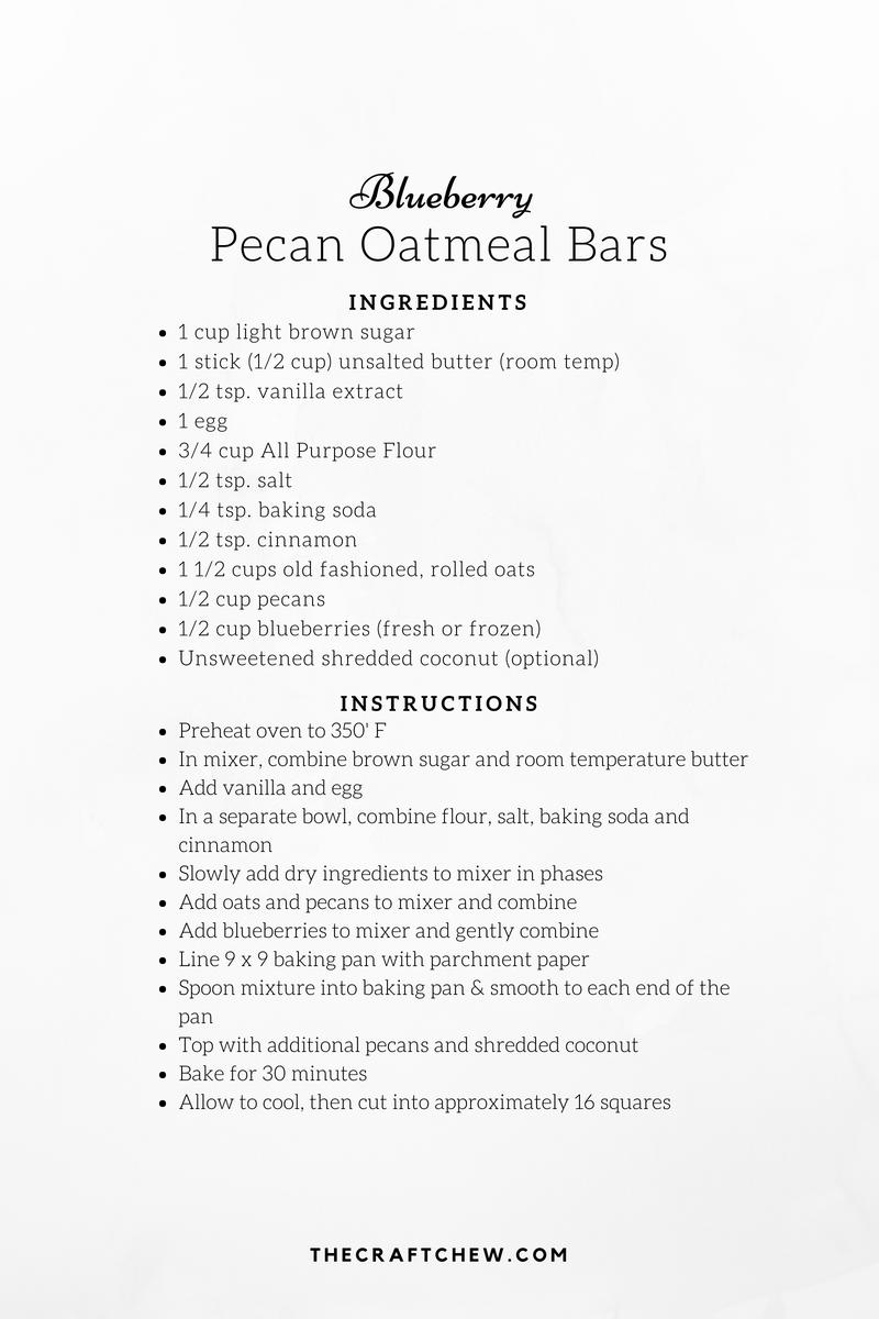 Blueberry Pecan Oatmeal Bars