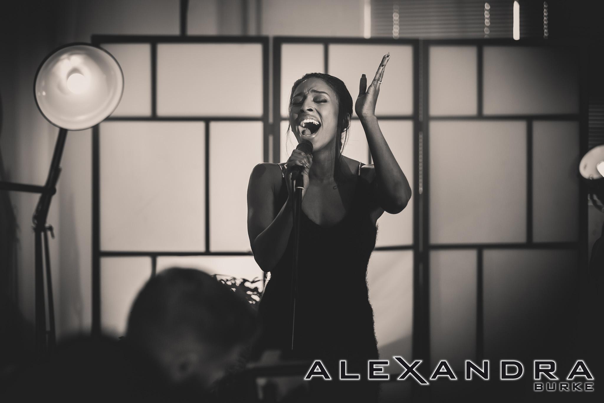 Alexandra Burke   rehearsing tracks from her new album.