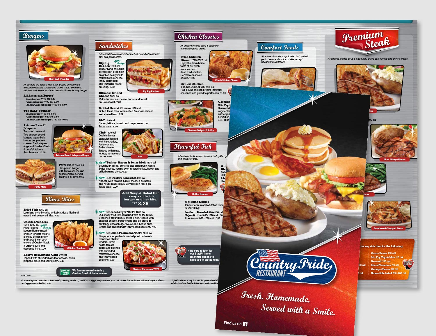 "The new Country Pride menu features a diner theme with a brushed steel background, metallic colors, headings that resemble car emblems, retro shaped image frames and sparkle highlights. All of these design elements play into the ""Homemade in the USA"" entrees that are offered.       work completed for Full Circle Creative"