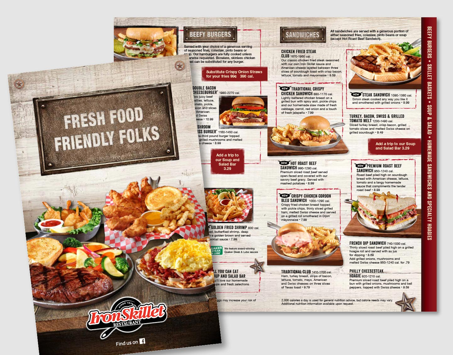 I created a fresh menu look for Iron Skillet, one of the restaurants at Petro Stopping Centers in over 65 locations across the United States. Iron Skillet originated in Texas and they wanted to keep the feel of home cooked recipes but update the prior menu look. The wood plank backdrop and metal heading plates lead you around the layout but keep the focus on the real star...the food!      work completed for Full Circle Creative