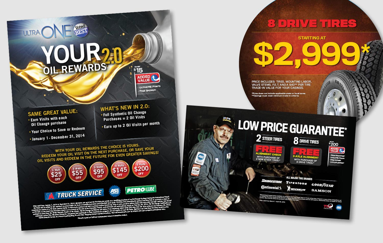 These are a few samples of Truck Service pieces done for TA and Petro Stopping Centers. They offered special discounts on tires, repair and maintenance services or had reward programs for oil changes. The campaigns targeted the trucking industry portion of the Travel Centers of America business with a masculine appeal. Campaign pieces included ads, flyers, point of purchase signs, pumptoppers, etc.      work completed for Full Circle Creative