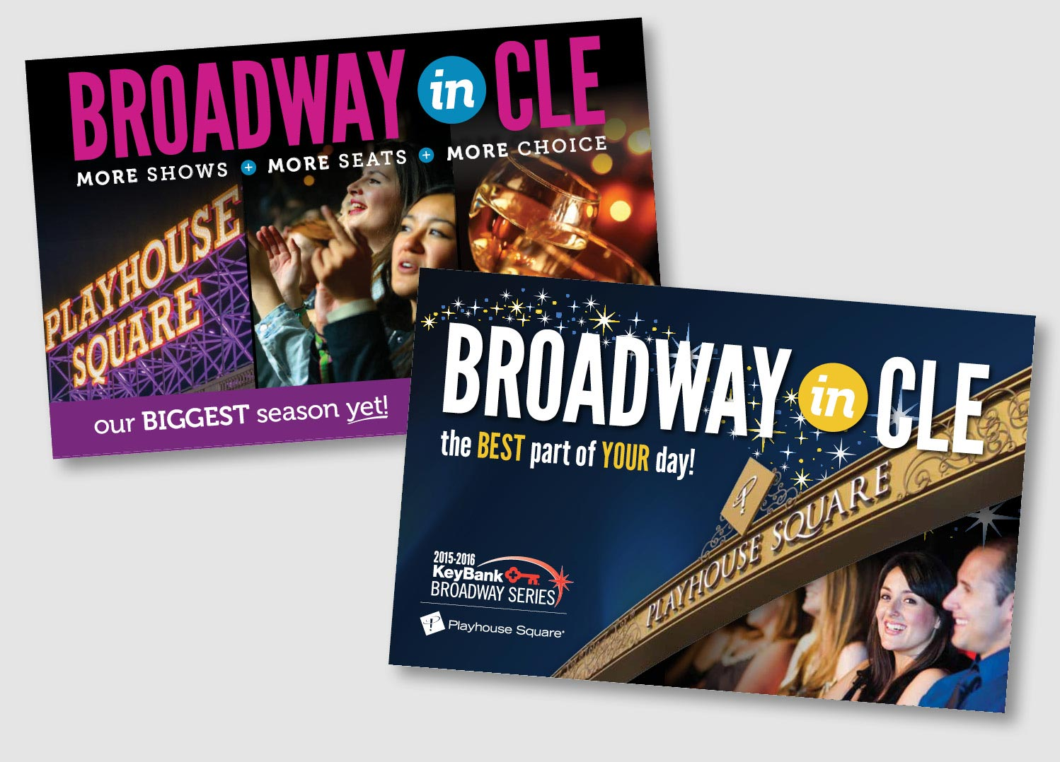 The Playhouse Square Broadway Series highlights architectural elements from the newly renovated downtown Cleveland area along with images of theater participants enjoying the show. These mailer covers develop the theme that is carried through out the season.      work completed for type + design