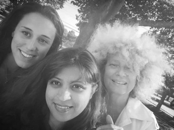 Producer: Katya Lucia Berger (left), Survivor: Alifya Sulemanji (centre), Artist: Owanto (right)