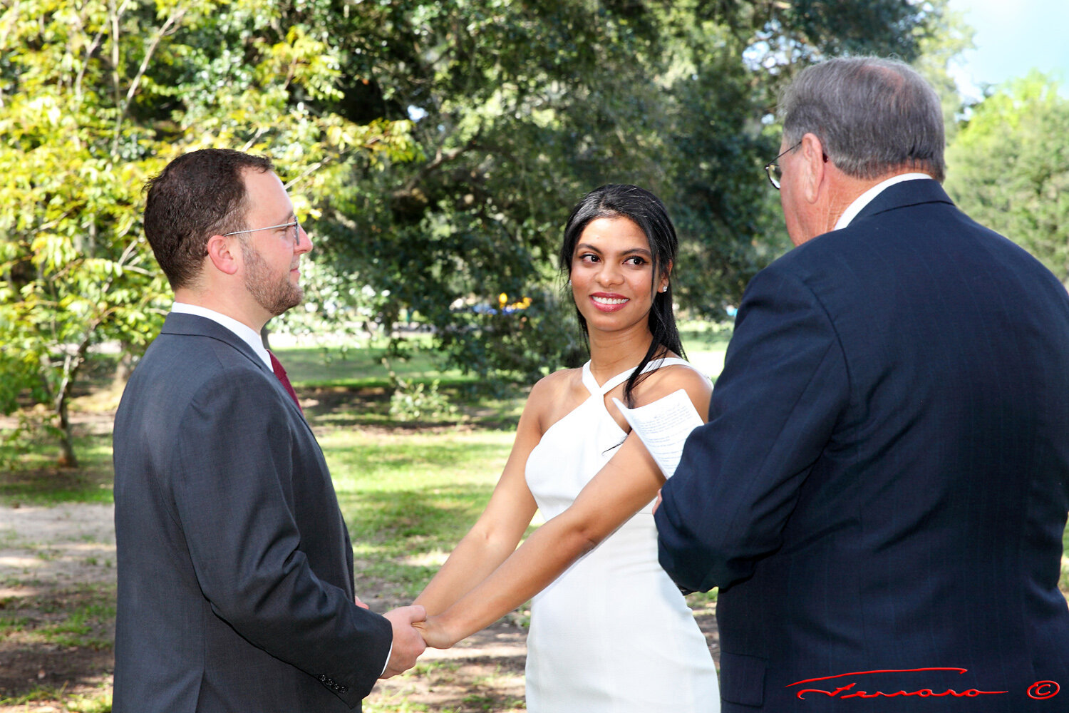 "Diana and Kristopher saying, ""I DO"" in Audubon Park!"