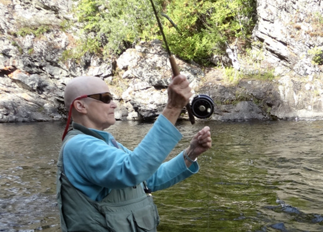 Fishing while bald. Remember to breathe fresh air and feel nature all around . . .