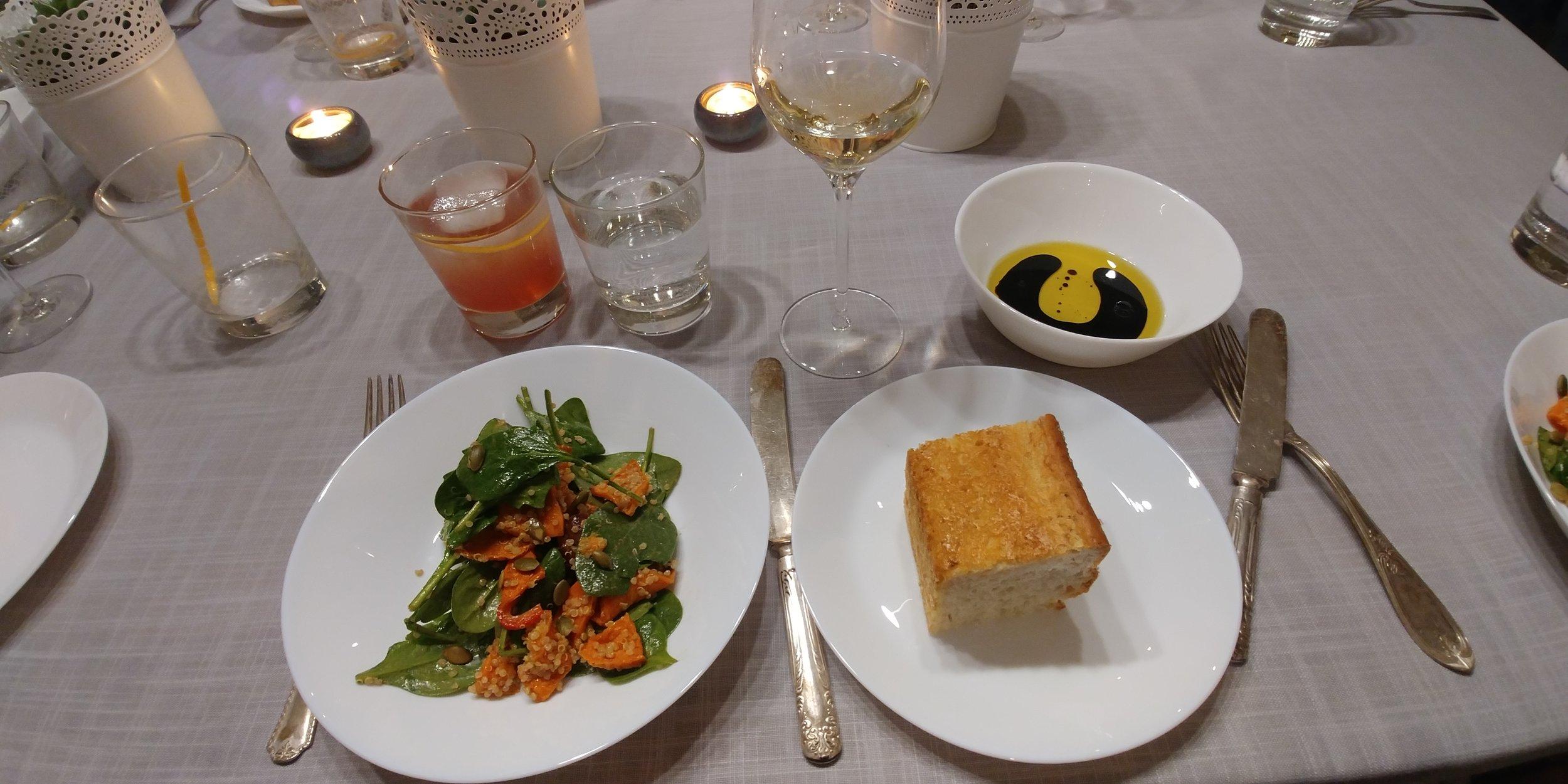 Spinach salad, focaccia bread